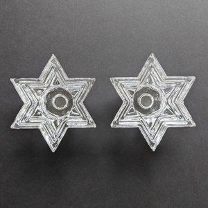 Pair 6 Pointed Star David 4 Tiered Candleholders